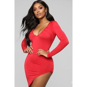 Fashion Nova Red Asymmetrical Midi Dress NWT!